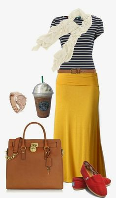 Black and white striped shirt, pale yellow skirt, shoes and hand bag combination for fall