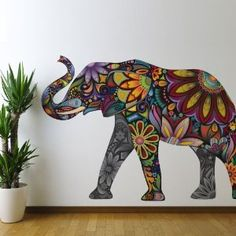 Amazon.com - Good Luck Elephant Wall Sticker - Peel and Stick Wall Decal by My Wonderful Walls (58 w X 40 h & Left-Facing)