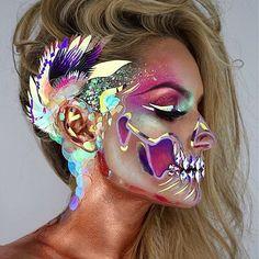 Mehron Copper Metallic Copper.... gorgeous!!!  Mixing Medium  #skullmakeup #skulltress #skullart  #faceart  #crazymakeups   #holographic #mehrongirl #mehron #metallicmakeup #coppermetallic #mehronmakeup