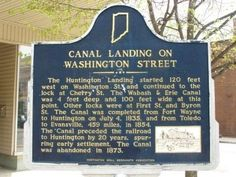 The Huntington Landing started 120 feet west on Washington St and continued to the lock at Cherry St. The Wabash & Erie canal was 4 feet deep and 100 feet wide as this point. Other locks were at First St. and Byron St. The Canal was completed from Fort Wayne to Huntington on July 4, 1854, and from Toledo to Evansville, 459 miles, in 1854. The Canal preceded the railroad to Huntington by 20 years, spurring early settlement. The Canal was abandoned in 1873.