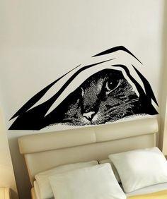 Vinyl Wall Decal Sticker Hiding Cat #5474