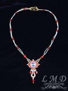 Swarovski Crystal necklace bead weaving red and glod handmade by Lijuanbeadjewelry on Etsy Swarovski Crystal Necklace, Swarovski Crystals, Beaded Necklace, Bead Weaving, Beads, Trending Outfits, Unique Jewelry, Handmade Gifts, Etsy