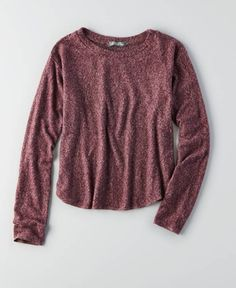 AEO Don't Ask Why Long Sleeve Sweatshirt, Women's, Red