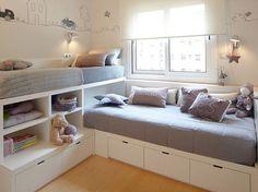 Coloridos ou neutros, os ambientes mostram como é possível criar um dormitório para bebês, uma ou duas crianças em poucos metros quadrados