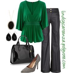 Green and Houndstooth, created by lindsycarranza on Polyvore