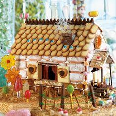 Maisonnette en sucreries, murs en pain d'épices et biscuits, toit en langues de chat, sucettes, chocolat