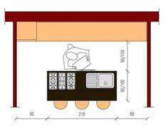 Cucina in linea e isola con bancone, piano cottura e lavello