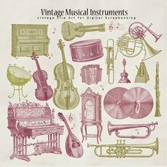 Freebies Retro Musical Instruments Illustrations