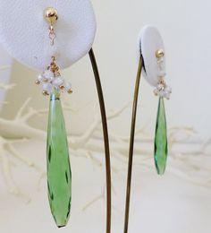 Emerald Green Hydro Quartz and Gemstone Drop Earrings