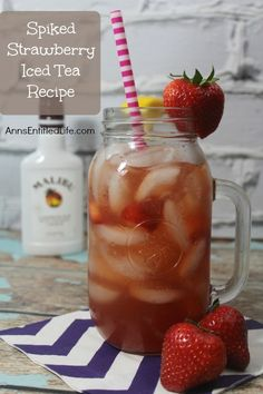 Spiked Strawberry Iced Tea and other strawberry recipes at www.idyllicpursuit.com
