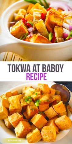 Tokwa't Baboy recipe is made up of fried tokwa (or tofu in English), pork belly (or ears) and doused in that tasty blend of generous soy sauce, vinegar, sliced onions, chopped green onions, garlic, calamansi, salt and pepper and chili (for the more daring ones).