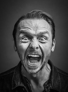 Gotts on Simon Pegg - English actor, comedian, screenwriter and film producer. Photo by Andy Gotts:Simon Pegg - English actor, comedian, screenwriter and film producer. Photo by Andy Gotts: Simon Pegg, Black And White Portraits, Black And White Photography, High Contrast Photography, Andy Gotts, Expressions Photography, Face Expressions, Celebrity Portraits, Poses