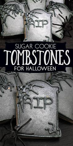 No Spread Sugar Cookie Recipe, Sugar Cookies Recipe, Cookie Recipes, Cookie Ideas, Halloween Cookies Decorated, Halloween Sugar Cookies, Decorated Cookies, Halloween Tombstones, Easy Halloween