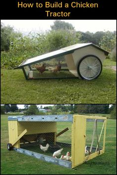 Chicken Coop - - Learn how to build a chicken tractor here! Building a chicken coop does not have to be tricky nor does it have to set you back a ton of scratch. Mobile Chicken Coop, Portable Chicken Coop, Best Chicken Coop, Backyard Chicken Coops, Chicken Coop Plans, Building A Chicken Coop, Chicken Runs, Chickens Backyard, Urban Chicken Coop