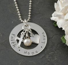 Faith Hope Love Hand stamped Necklace  Sterling by divinestampings, $50.00