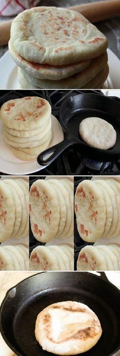 Descubre cómo hacer pan de pita casero: ¡riquísimo y sano! Si te gusta dinos HOLA y dale a Me Gusta MIREN … Homemade Pita Bread, Grilled Flatbread, Bread Recipes, Cooking Recipes, Salty Foods, Pan Dulce, Pan Bread, Snacks, Gastronomia