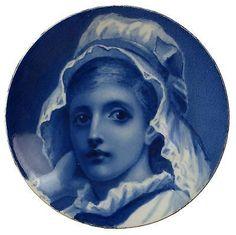 Hand-Painted-Antique-Minton-Porcelain-Desert-Plate-Love-in-Her-Eyes-Folkard-1880