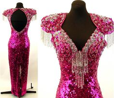 1980s sequin beaded gown pink silver pageant by vintagerunway