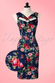 Hearts and Roses Blue Floral Pencil Dress
