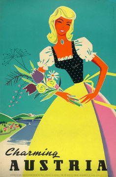ilse Jahnass Poster Design/Illustration 'Charming Austria' 1958.