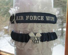 Military Air Force Wife Wedding Garter Set by CreativeGarters