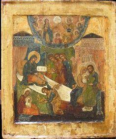 The Nativity of the Theotokos Icon Russian Icons, Byzantine Icons, Orthodox Christianity, Orthodox Icons, Sacred Art, Christian Art, Religious Art, Pagan, Religion