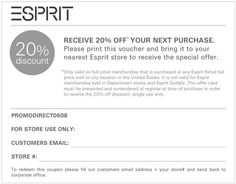 Take 20% off your next Esprit purchase! #coupon
