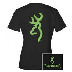 Browning Misses' Custom Buckmark Tee - Black/Lime - Mills Fleet Farm