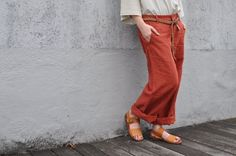 red linen pants (front).