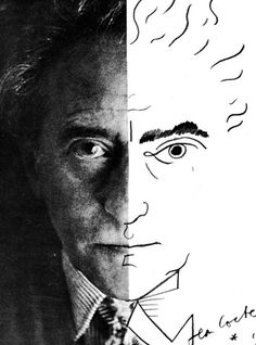 """Jean Cocteau (self-portrait, 1954) (via) """"Man seeks to escape himself in myth, and does so by any means at his disposal. Drugs, alcohol, or lies. Unable to withdraw into himself, he disguises himself. Lies and inaccuracy give him a few moments of..."""