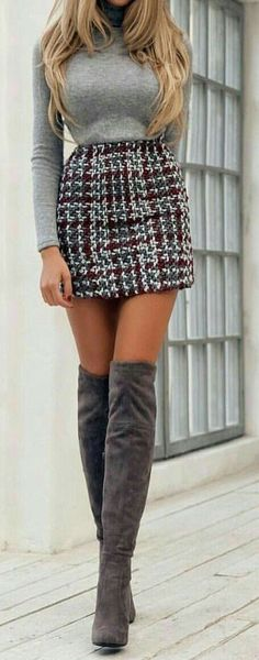See a - Mode für Frauen - Mini Skirt Outfit Mode Outfits, Trendy Outfits, Fashion Outfits, Womens Fashion, Trendy Clothing, Clothing Stores, Clothing Ideas, Fashion Boots, Fashion 2016