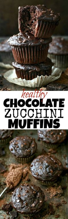 Healthy Double Chocolate Zucchini Muffins, Desserts, Healthy Double Chocolate Zucchini Muffins - so decadently delicious that you'd never believe they're naturally sweetened and made without any butter o. Healthy Muffins, Healthy Dessert Recipes, Healthy Baking, Healthy Desserts, Baking Recipes, Healthy Zucchini Recipes, Simple Healthy Recipes, Zucchini Desserts, Blueberry Desserts