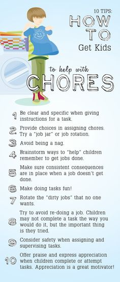 Love this list, especially #3.  10 Tips: How to Get Kids to Help with Chores.