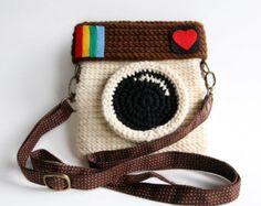 Vintage Camera monedero de ganchillo color rojo por Meemanan