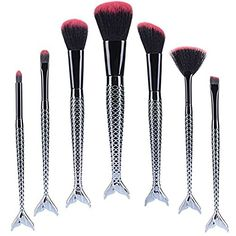 BYBOO 7 Pcs Make up Brush Set Kabuki Style Professional Fashion Mermaid Handle Synthetic Hair Powder Foundation Face Contour Liquid Eyeshadow Eyeliner Makeup Tool *** You can find more details by visiting the image link. (This is an affiliate link) Eye Makeup Art, No Eyeliner Makeup, Fun Makeup, Daily Makeup, Unicorn Makeup, Mermaid Makeup, Eye Shadow Application, How To Do Eyeliner, Hair Powder