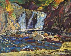 J E H MacDonald Montreal River Falls Landscape Counted Cross Stitch Pattern