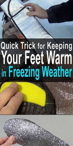 Trick for Keeping Your Feet Warm in Freezing Weather A simple and easy way to keep your feet warming in the winter that only costs a few dollars (if that). Watch this video to see how it's done. Emergency Preparedness Kit, Emergency Preparation, Survival Prepping, Survival Skills, Survival Gear, Survival Weapons, Wilderness Survival, Survival Supplies, Emergency Supplies
