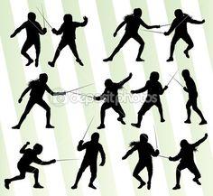 Télécharger - Escrime sport silhouette vecteur fond ensemble — Illustration #37235645 Silhouette Sport, Silhouette Vector, Fencing Sport, Illustrations, Vector Background, Motifs, Silhouettes, Fencing, Flocking