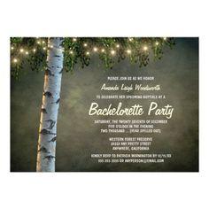 Rustic Birch Tree Bachelorette Party Invitations