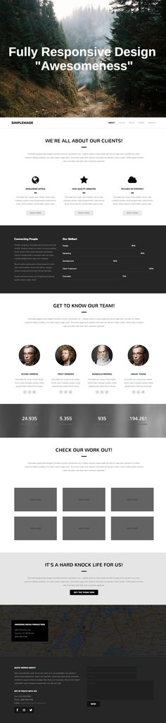 It's in the name... 'Simplemade' is a simple but pleasing one page template for a grand total of only $11. With the monochrome colour scheme and layout of the sections, this theme would be suitable for many other uses besides the agency slant that it's promoted as. The skillset chart could use a few enhancements to really make it pop and also the About section icons could be replaced but small critiques for a low cost, versatile one pager.