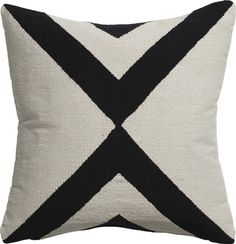 Pillows - Handmade dhurrie pattern crisscrosses in contrasting ivory and black. cotton flips to solid natural. Mid Century Modern Living Room, New Living Room, Living Room Modern, Living Room Designs, Minimal Living, Modern Bedroom, Living Area, Accent Pillows, Throw Pillows