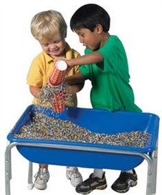 Love the alternative idea of kidfetti than the traditional sand and water. e.g $49.95 http://www.sensoryedge.com/kidfetti-play-pellets.html