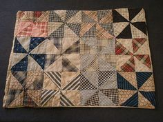 "Early 1900's Hand-Crafted ""Pinwheel"" Pattern Doll Quilt, Ruby Lane, Brys Antiques"