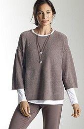 Pure JJill cashmere kimono-sleeve sweater