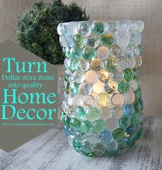 dollar store items, marbles, glass beads, vase, cheap, fun, easy, inexpensive, home decor, candle votives, candle, hurricane, diy, handmade, homemade