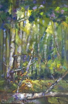 0302221 Little Fox in the Woods by Christiane David Oil ~ 36 x 24