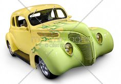 33 Coupe Paint Flames | Stock photo of Yellow green Hot rod Ford Coupe 1938 retro car with ...