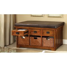 Merveilleux Antique Oak Contessa Mission Storage Bench Six Built In Drawers And A Faux  Leather Seat, This Storage Bench Keeps Purses And Bags Tucked Away While ...