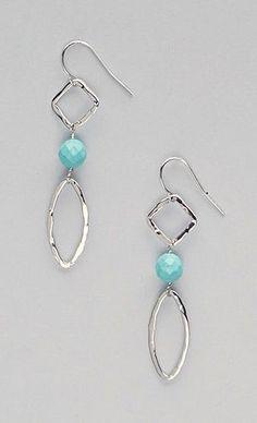 Turquoise & Sterling Silver Geometric Drop Earrings #SterlingSilverCutlery