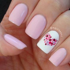 dotted heart nail - 30+ Adorable Polka Dots Nail Designs  <3 <3
